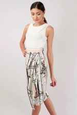 Ivory Draped Top and Skirt Dress - 4