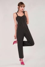 Black Fitted Strap Jumpsuit - 1