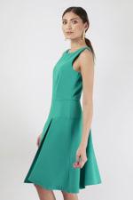 Green Asymmetrical Skirt Dress - 4