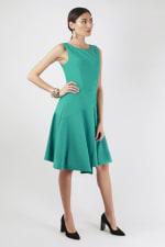 Green Asymmetrical Skirt Dress - 1