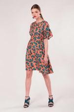 Peach Frill Sleeve A-Line Dress - 1
