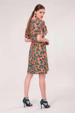 Peach Frill Sleeve A-Line Dress - 2