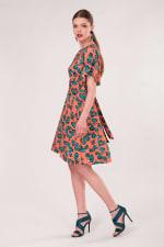 Peach Frill Sleeve A-Line Dress - 3