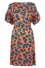 Peach Frill Sleeve A-Line Dress - 4