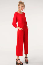 Red 2-In-1 Puff Sleeve Round Neck Jumpsuit - 1