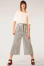Black & White Stripes Bow Tie Crop Pants - 1