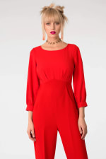 Red 2-In-1 Puff Sleeve Round Neck Jumpsuit - 4