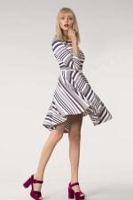 Grey & White Stripes Jersey Skater Round Neck Dress - 4