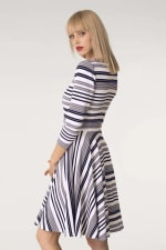 Grey & White Stripes Jersey Skater Round Neck Dress - 3