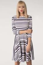 Grey & White Stripes Jersey Skater Round Neck Dress - 5