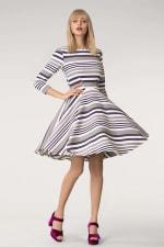 Grey & White Stripes Jersey Skater Round Neck Dress - 1