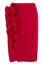 Red Asymmetric Frill Sheath Skirt - 4