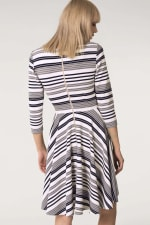Grey & White Stripes Jersey Skater Round Neck Dress - 2