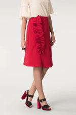 Red Asymmetric Frill Sheath Skirt - 1