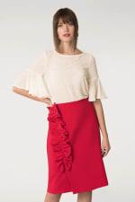 Red Asymmetric Frill Sheath Skirt - 3