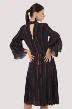 Black Stripe Trumpet Sleeve Tie Neck Dress - 2