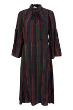 Black Stripe Trumpet Sleeve Tie Neck Dress - 4