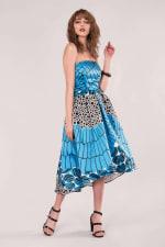 Closet Gold Satin Blue Strapless High-Low Dress - 3