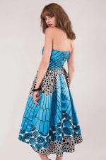 Closet Gold Satin Blue Strapless High-Low Dress - 4