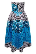 Closet Gold Satin Blue Strapless High-Low Dress - 2