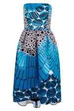 Closet Gold Satin Blue Strapless High-Low Dress - 1