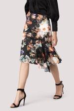 Dark Floral Pencil Skirt With Godet Detail - 3