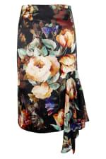 Dark Floral Pencil Skirt With Godet Detail - 4