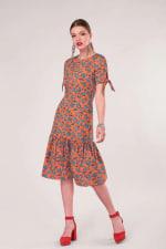 Orange Tie Short Sleeve Hem Dress - 1