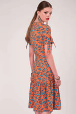 Orange Tie Short Sleeve Hem Dress - 2
