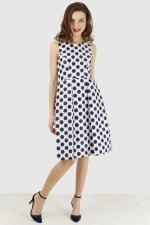 Navy Polka Dot Princess Seam Dress - 1