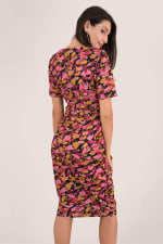 Closet Gold Floral Pleated Wrap Dress - 2