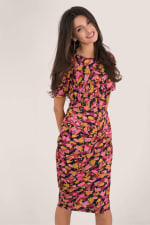 Closet Gold Floral Pleated Wrap Dress - 1