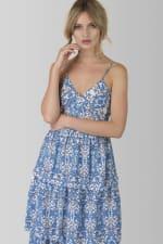 Floral Blue Strap Ruffle Layer Dress - 3