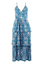 Floral Blue Strap Ruffle Layer Dress - 4