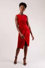 Velvet Red Wrap Dress - 1