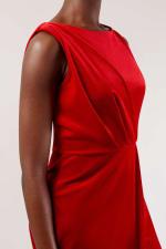 Velvet Red Wrap Dress - 3