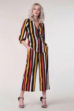 Black Stripes Crop Leg Pants - 5