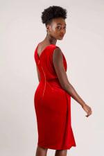 Velvet Red Wrap Dress - 2