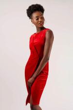 Velvet Red Wrap Dress - 4