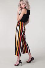 Black Stripes Crop Leg Pants - Black - Back