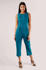 Teal Pleated Waist Cropped Jumpsuit - 1