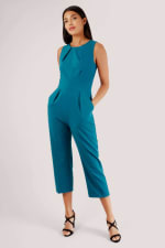 Teal Pleated Waist Cropped Jumpsuit - 2