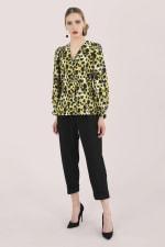 Multi Leopard Print Long Sleeve Blouse - 1