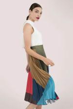 Sleeveless High Neck Midi Dress with Printed Pleated Skirt - 4