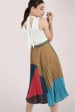 Sleeveless High Neck Midi Dress with Printed Pleated Skirt - 2