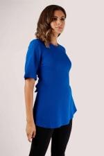 Blue Short Sleeve Top with Tie Waist - 3