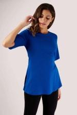 Blue Short Sleeve Top with Tie Waist - 4