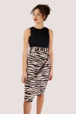 2-in-1 Black With Tiger Print Skirt Dress - 3