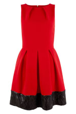 Red Skater Dress With Black Sequin Hem - 1