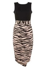 2-in-1 Black With Tiger Print Skirt Dress - 1